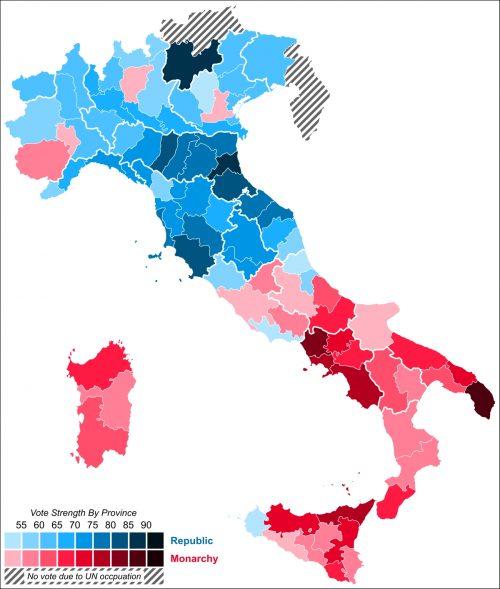 Mappa dei risultati per provincia del Referendum istituzionale del 2 giugno 1946